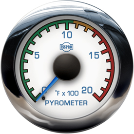 EV2 Chrome Bezel  Blue Pointer W/Black Hub  White Face  Blue Numerals (Marine) Pyrometer 0-2000F