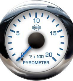EV2 Chrome Bezel  Blue Pointer W/Black Hub  White Face  Blue Numerals (Marine) Pyrometer No-Color 0-2000F
