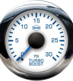 EV2 Chrome Bezel  Blue Pointer W/Black Hub  White Face  Blue Numerals (Marine) Turbo Boost 0-30Psi