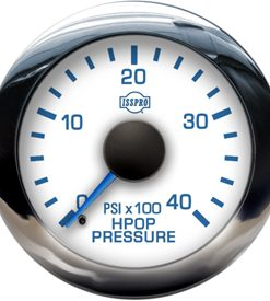 EV2 Chrome Bezel  Blue Pointer W/Black Hub  White Face  Blue Numerals (Marine) Hpop Pressure 0-4000Psi