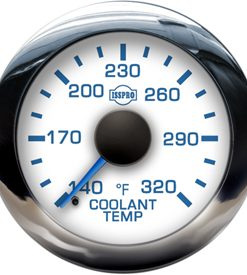 EV2 Chrome Bezel  Blue Pointer W/Black Hub  White Face  Blue Numerals (Marine) Coolant Temp 140-320F