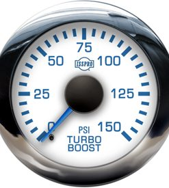 EV2  0-150PSI BOOST  Blue Pointer  White Face  Blue Letters  Chrome Bezel