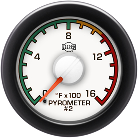 EV2 Black Bezel  Red Pointer W/White Hub  White Face  Black Numerals Green When Backlit (Dodge) Pyrometer 2 0-1600F