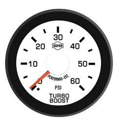 EV2 Black Bezel  Red Pointer W/White Hub  White Face  Black Numerals Green When Backlit (Dodge) Turbo Boost 0-60Psi