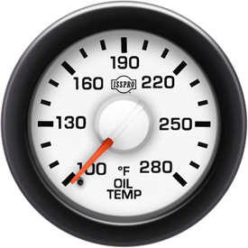 EV2 Black Bezel  Red Pointer W/White Hub  White Face  Black Numerals Green When Backlit (Dodge) Oil Temp 100-280F