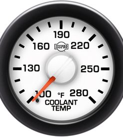 EV2 Black Bezel  Red Pointer W/White Hub  White Face  Black Numerals Green When Backlit (Dodge) Coolant Temp 100-280F