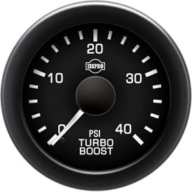 EV2 Black Bezel  White Pointer W/Black Hub  Black Face  White Numerals Green When Backlit (Chevy) Turbo Boost 0-40Psi