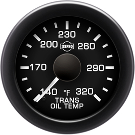 EV2 Black Bezel  White Pointer W/Black Hub  Black Face  White Numerals Green When Backlit (Chevy) Trans Oil Temp 140-320F