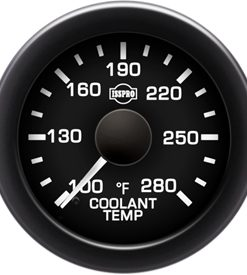 EV2 Black Bezel  White Pointer W/Black Hub  Black Face  White Numerals Green When Backlit (Chevy) Coolant Temp 100-280F