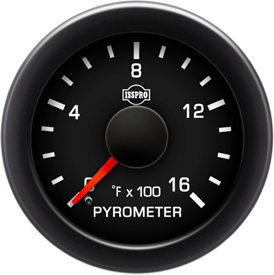 EV2 Black Bezel  Red Pointer W/Black Hub  Black Face  White Numerals Green When Backlit (Ford) Pyrometer No-Color 0-1600F
