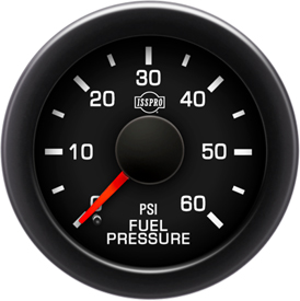 EV2 Black Bezel  Red Pointer W/Black Hub  Black Face  White Numerals Green When Backlit (Ford) Fuel Pressure 0-60Psi