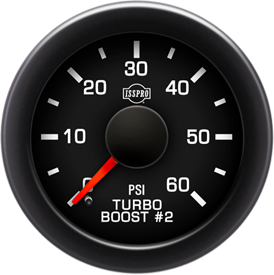 EV2 Black Bezel  Red Pointer W/Black Hub  Black Face  White Numerals Green When Backlit (Ford) Turbo Boost 2 0-60Psi