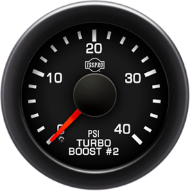 EV2 Black Bezel  Red Pointer W/Black Hub  Black Face  White Numerals Green When Backlit (Ford) Turbo Boost 2 0-40Psi