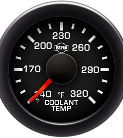 EV2 Black Bezel  Red Pointer W/Black Hub  Black Face  White Numerals Green When Backlit (Ford) Coolant Temp 140-320F
