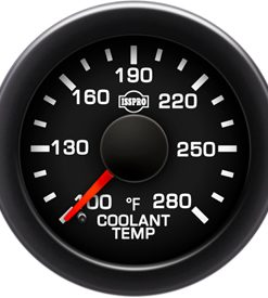 EV2 Black Bezel  Red Pointer W/Black Hub  Black Face  White Numerals Green When Backlit (Ford) Coolant Temp 100-280F