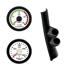 98-02 DODGE CUMMINS EV2 White Face/Red Pointer/Black Bezel Pyro-Trans Temp-Pillar
