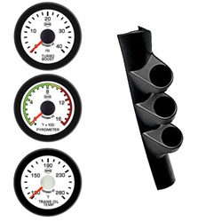 03-09 DODGE CUMMINS EV2 White Face/Red Pointer/Black Bezel Pyro-Boost-Trans Temp Full Pillar