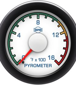 Pyrometer 0-1600 F Red Pointer  White Face  Blue Letters (Blue When Lit)  Black Bezel