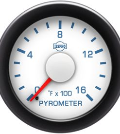 Pyrometer No-Color 0-1600 F Red Pointer  White Face  Blue Letters (Blue When Lit)  Black Bezel