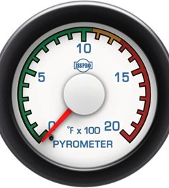 Pyrometer 0-2000 F Red Pointer  White Face  Blue Letters (Blue When Lit)  Black Bezel