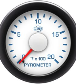 Pyrometer No-Color 0-2000 F Red Pointer  White Face  Blue Letters (Blue When Lit)  Black Bezel
