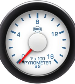 Pyrometer #2 No-Color 0-1600 F Red Pointer  White Face  Blue Letters (Blue When Lit)  Black Bezel