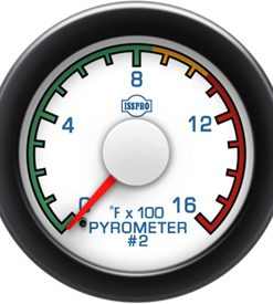 Pyrometer #2 0-1600 F Red Pointer  White Face  Blue Letters (Blue When Lit)  Black Bezel