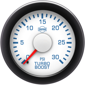 Turbo Boost 0-30 Psi Red Pointer  White Face  Blue Letters (Blue When Lit)  Black Bezel