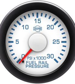 Fuel Rail Pressure 0-35K Psi Red Pointer White Face Blue Letters (Blue When Lit) Black Bezel