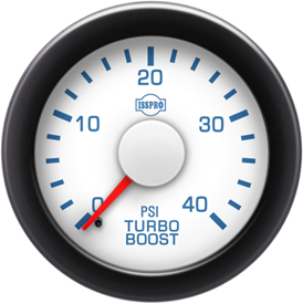Turbo Boost 0-40 Psi Red Pointer  White Face  Blue Letters (Blue When Lit)  Black Bezel