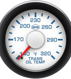 Transmission Oil Temp 140-320 F Red Pointer  White Face  Blue Letters (Blue When Lit)  Black Bezel
