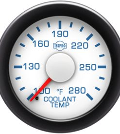 Coolant Temp 100-280 F Red Pointer  White Face  Blue Letters (Blue When Lit)  Black Bezel