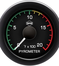 Pyrometer 0-2000 F White Pointer  Black Face  White Letters (Green When Lit)  Black Bezel