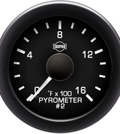 Pyrometer #2 No-Color 0-1600 F White Pointer  Black Face  White Letters (Green When Lit)  Black Bezel