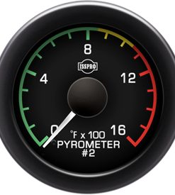 Pyrometer #2 0-1600 F White Pointer  Black Face  White Letters (Green When Lit)  Black Bezel