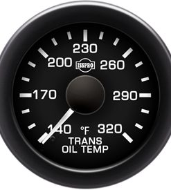 Transmission Oil Temp 140-320 F White Pointer  Black Face  White Letters (Green When Lit)  Black Bezel