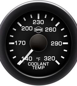 Coolant Temp 140-320 F White Pointer  Black Face  White Letters (Green When Lit)  Black Bezel