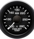Coolant Temp 100-280 F White Pointer  Black Face  White Letters (Green When Lit)  Black Bezel