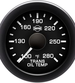Transmission Oil Temp 100-280 F White Pointer  Black Face  White Letters (Green When Lit)  Black Bezel