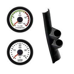 99-07 SD FORD  EV2 White Face/Red Pointer/Black Bezel Pyro-Boost-Pillar