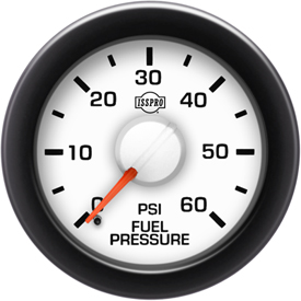 Fuel Pressure 0-60 Psi Red Pointer  White Face  Black Letters (Green When Lit)  Black Bezell
