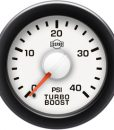 Turbo Boost 0-40 Psi Red Pointer  White Face  Black Letters (Green When Lit)  Black Bezel