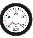 Turbo Boost 0-100 Psi Red Pointer  White Face  Black Letters (Green When Lit)  Black Bezel