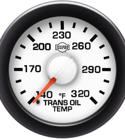 Transmission Oil Temp 140-320 F Red Pointer  White Face  Black Letters (Green When Lit)  Black Bezel