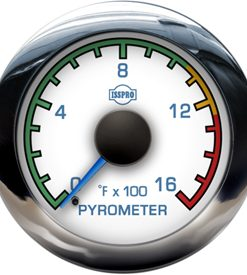 Pyrometer 0-1600 F Blue Pointer  White Face  Blue Letters  Chrome Bezel