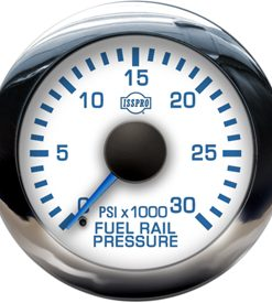 Fuel Rail Pressure 0-30K Psi Blue Pointer White Face Blue Letters Chrome Bezel