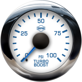 Turbo Boost 0-100 Psi Blue Pointer  White Face  Blue Letters  Chrome Bezel