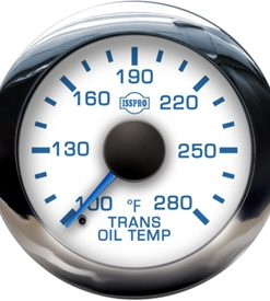 Transmission Oil Temp 100-280 F Blue Pointer  White Face  Blue Letters  Chrome Bezel