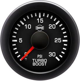 Turbo Boost 0-30 Psi Red Pointer  Black Face  White Letters (Green When Lit)  Black Bezel