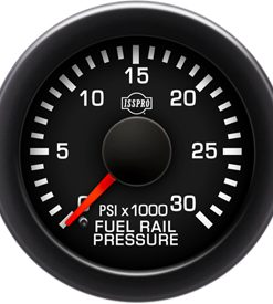 Fuel Rail Pressure 0-35K Psi Red Pointer Black Face White Letters (Green When Lit) Black Bezel